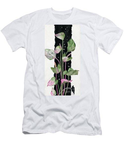 Men's T-Shirt (Slim Fit) featuring the painting Flower Anthurium 02 Elena Yakubovich by Elena Yakubovich