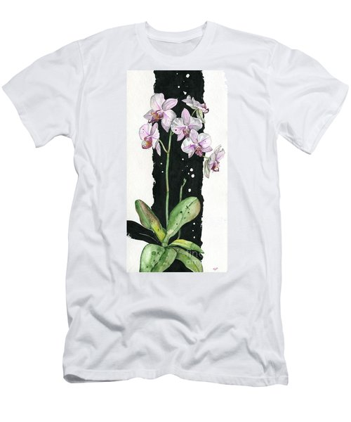 Men's T-Shirt (Slim Fit) featuring the painting Flower Orchid 02 Elena Yakubovich by Elena Yakubovich