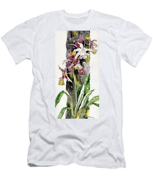 Men's T-Shirt (Slim Fit) featuring the painting Flower Orchid 03 Elena Yakubovich by Elena Yakubovich