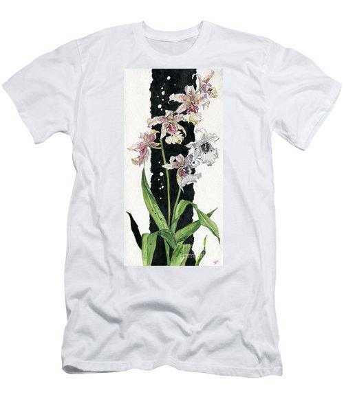 Men's T-Shirt (Slim Fit) featuring the painting Flower Orchid 06 Elena Yakubovich by Elena Yakubovich