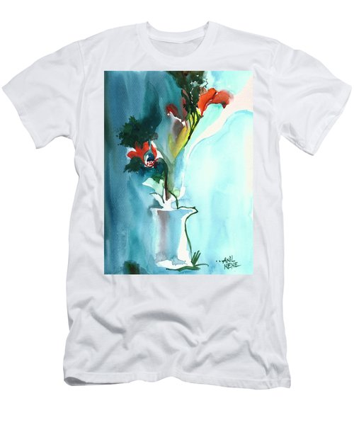 Flowers In Vase Men's T-Shirt (Slim Fit) by Anil Nene