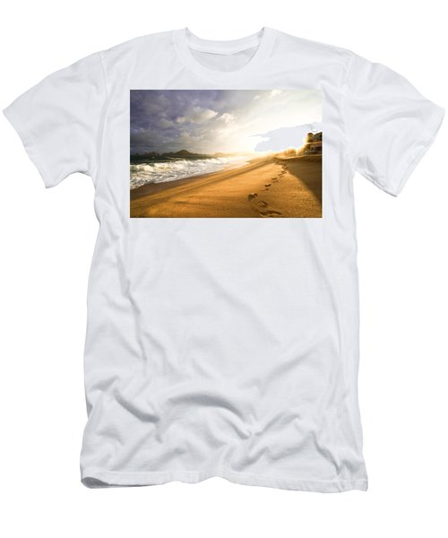 Men's T-Shirt (Slim Fit) featuring the photograph Footsteps In The Sand by Eti Reid