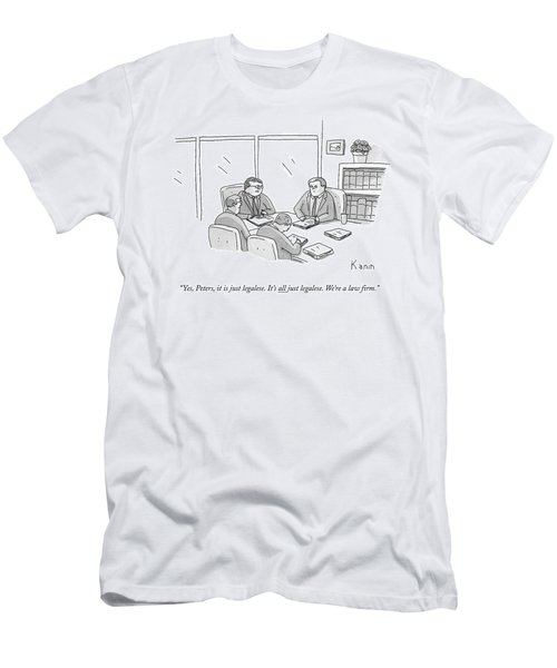 Four Lawyers Speak At A Conference Table Men's T-Shirt (Athletic Fit)