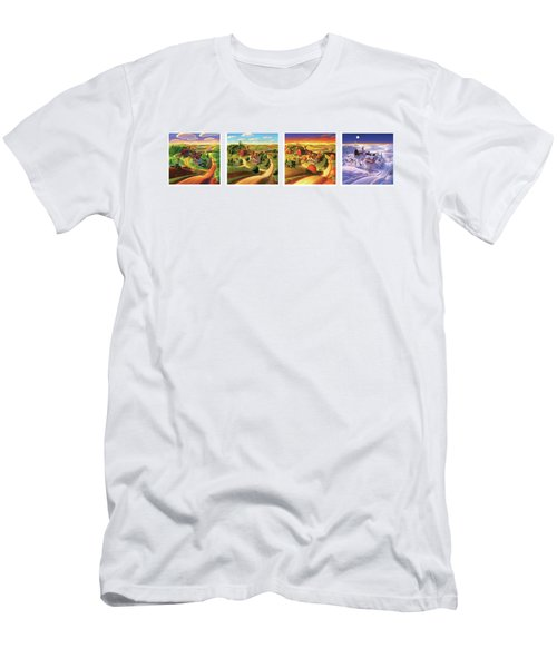 Men's T-Shirt (Slim Fit) featuring the painting Four Seasons On The Farm by Robin Moline