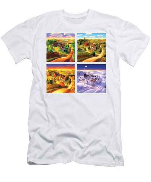 Four Seasons On The Farm Squared Men's T-Shirt (Slim Fit) by Robin Moline