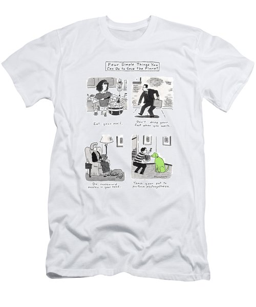 Four Simple Things You Can Do To Save The Planet Men's T-Shirt (Athletic Fit)