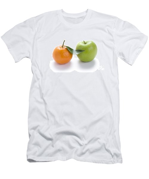 Men's T-Shirt (Slim Fit) featuring the photograph Fresh Apple And Orange On White by Lee Avison