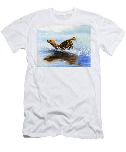 Frolicking Dog Men's T-Shirt (Athletic Fit)