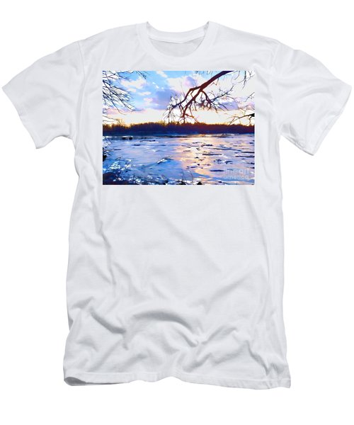 Frozen Delaware River Sunset Men's T-Shirt (Athletic Fit)
