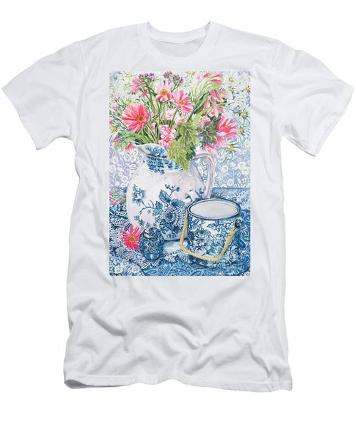 Gerberas In A Coalport Jug With Blue Pots Men's T-Shirt (Athletic Fit)