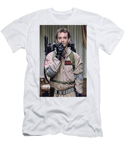 Men's T-Shirt (Slim Fit) featuring the painting Ghostbusters - Bill Murray Artwork 2 by Sheraz A