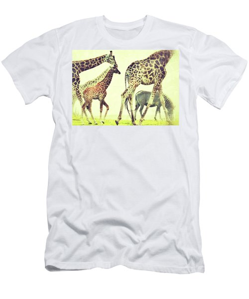 Giraffes And A Zebra In The Mist Men's T-Shirt (Athletic Fit)