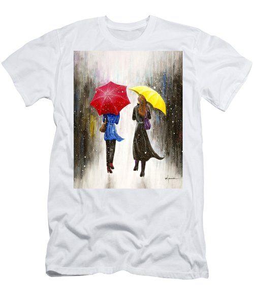 Men's T-Shirt (Slim Fit) featuring the painting Girlfriends by Kume Bryant
