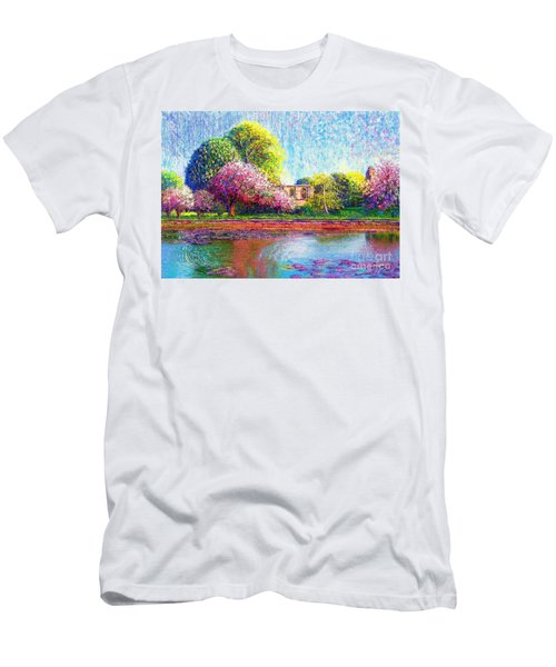 Men's T-Shirt (Slim Fit) featuring the painting Glastonbury Abbey Lily Pool by Jane Small