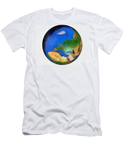 Men's T-Shirt (Slim Fit) featuring the painting Globe 3d Picture by Georgi Dimitrov