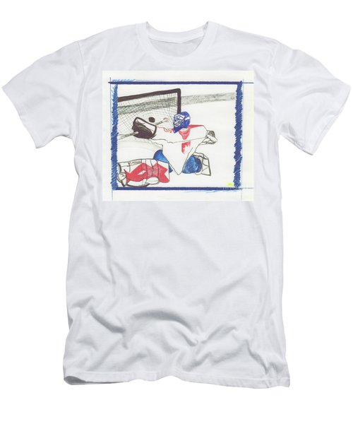 Men's T-Shirt (Slim Fit) featuring the drawing Goalie By Jrr by First Star Art