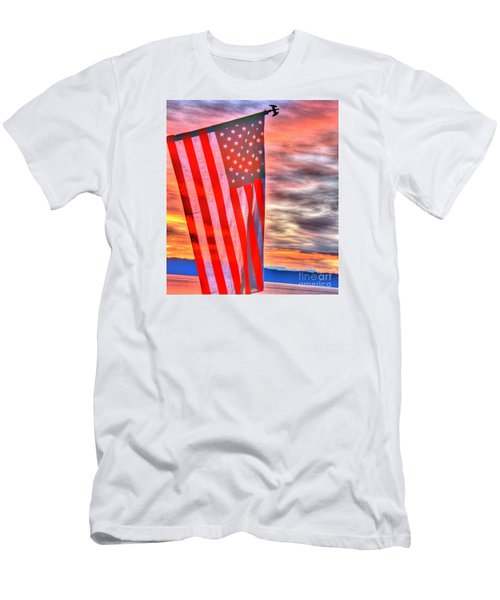 God Bless America Over Puget Sound Men's T-Shirt (Athletic Fit)