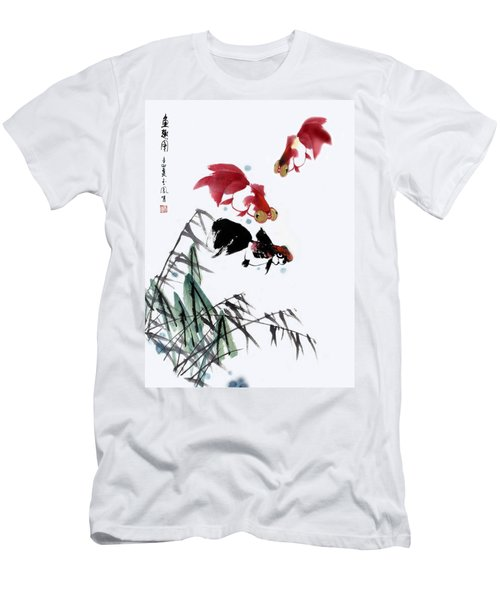 Men's T-Shirt (Slim Fit) featuring the painting Gold Fish by Yufeng Wang