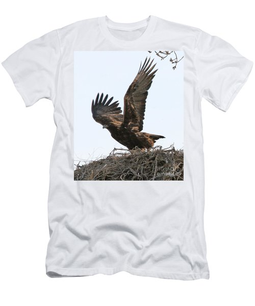 Men's T-Shirt (Slim Fit) featuring the photograph Golden Eagle Takes Off by Bill Gabbert