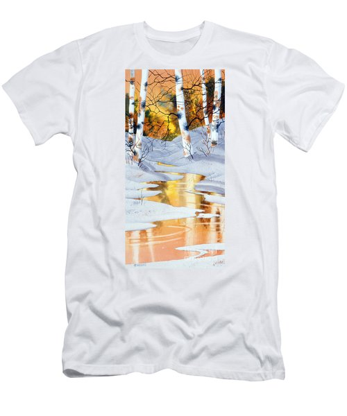 Men's T-Shirt (Slim Fit) featuring the painting Golden Winter by Teresa Ascone