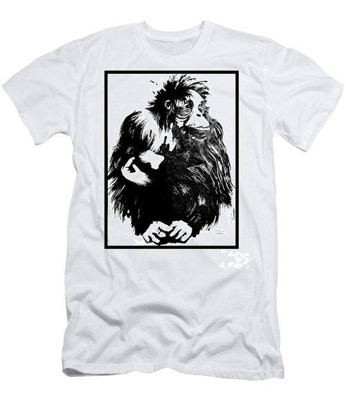 Men's T-Shirt (Slim Fit) featuring the drawing Gorilla Ina Box by Paul Davenport