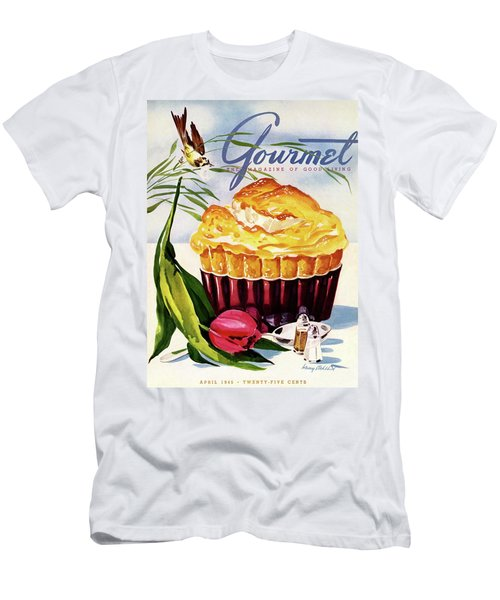 Gourmet Cover Illustration Of A Souffle And Tulip Men's T-Shirt (Athletic Fit)