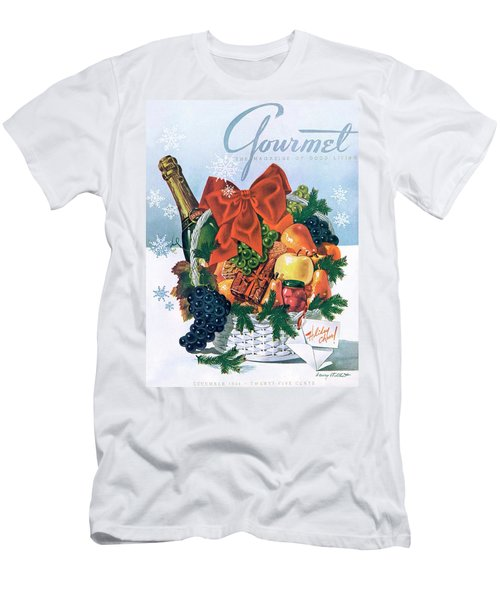 Gourmet Cover Illustration Of Holiday Fruit Basket Men's T-Shirt (Athletic Fit)