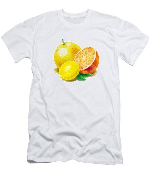 Men's T-Shirt (Slim Fit) featuring the painting Grapefruit Lemon Orange by Irina Sztukowski