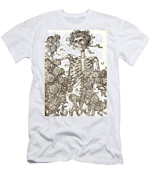Gratefully Dead Skeleton Men's T-Shirt (Slim Fit) by Kelly Awad