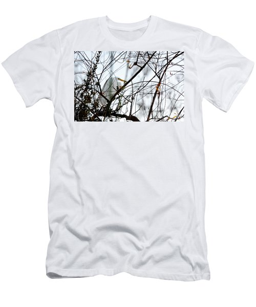 Men's T-Shirt (Slim Fit) featuring the photograph Great Egret Roosting In Winter by Susan Wiedmann