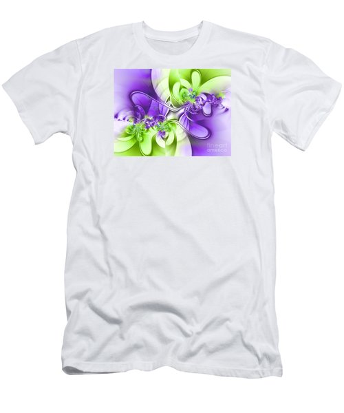 Green And Purple Men's T-Shirt (Slim Fit) by Lena Auxier