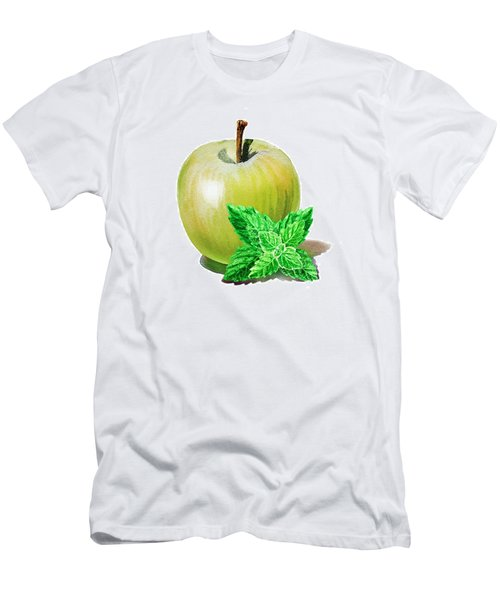 Men's T-Shirt (Slim Fit) featuring the painting Green Apple And Mint by Irina Sztukowski