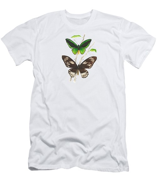Green Birdwing Butterfly Men's T-Shirt (Slim Fit) by Cindy Hitchcock