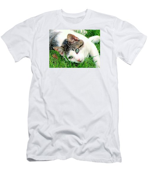 Men's T-Shirt (Slim Fit) featuring the photograph Green Eyed Cat by Janette Boyd