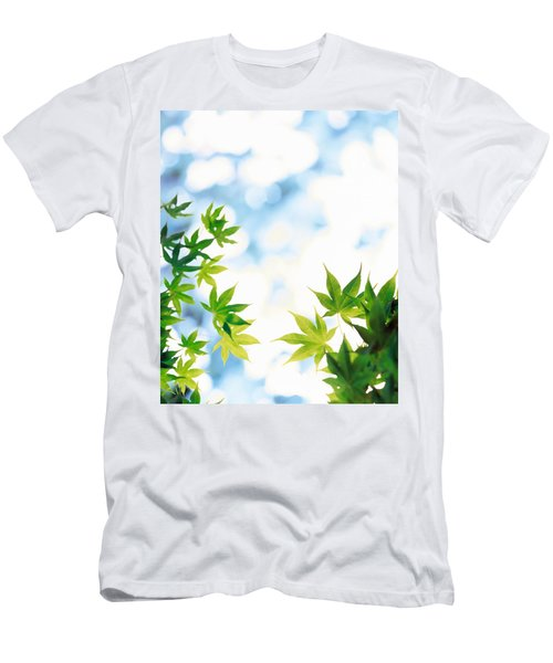 Green Leaves On Mottled Cloudy Sky Men's T-Shirt (Athletic Fit)