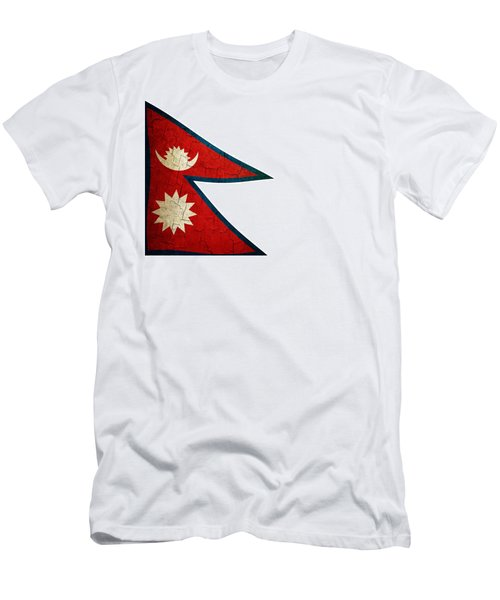 Grunge Nepal Flag Men's T-Shirt (Athletic Fit)