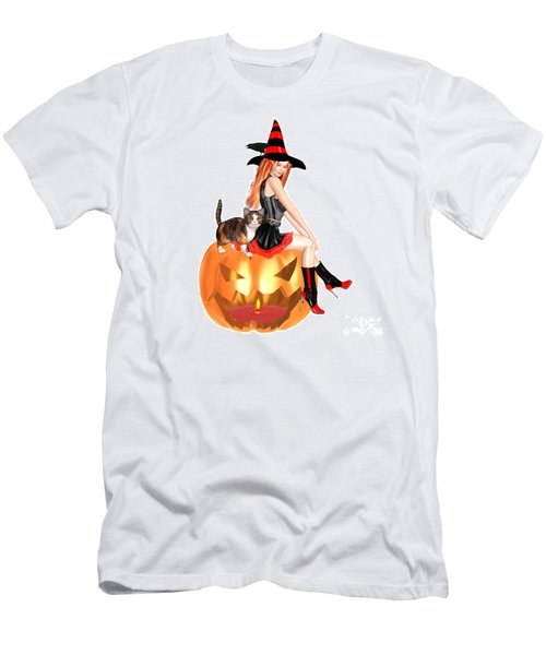 Halloween Witch Nicki With Kitten Men's T-Shirt (Slim Fit) by Renate Janssen
