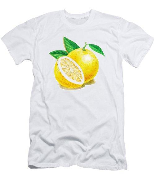 Men's T-Shirt (Slim Fit) featuring the painting Happy Grapefruit- Irina Sztukowski by Irina Sztukowski