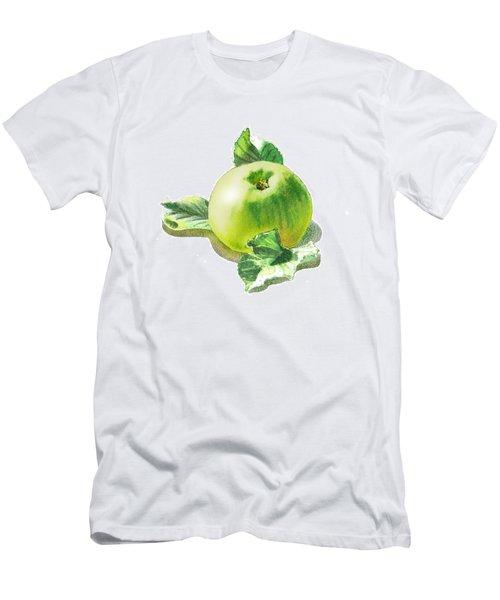Men's T-Shirt (Slim Fit) featuring the painting Happy Green Apple by Irina Sztukowski