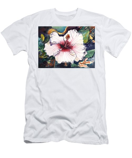 Men's T-Shirt (Slim Fit) featuring the painting Happy Hawaiian Hibiscus by Marionette Taboniar