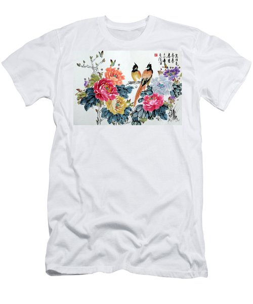 Harmony And Lasting Spring Men's T-Shirt (Slim Fit) by Yufeng Wang