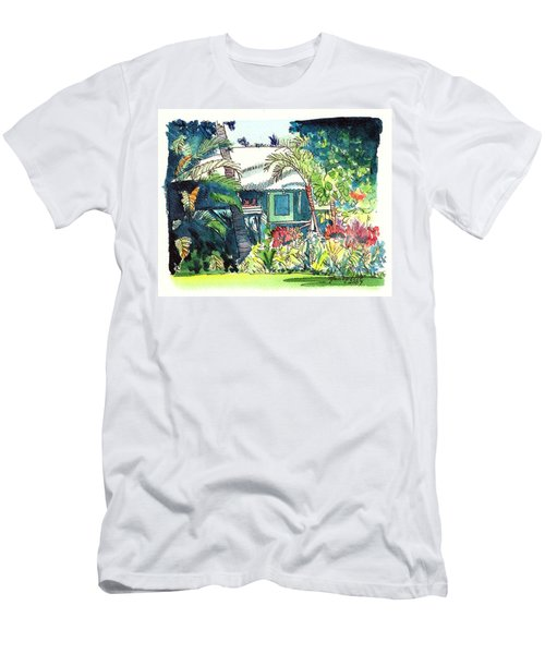 Men's T-Shirt (Slim Fit) featuring the painting Hawaiian Cottage 3 by Marionette Taboniar