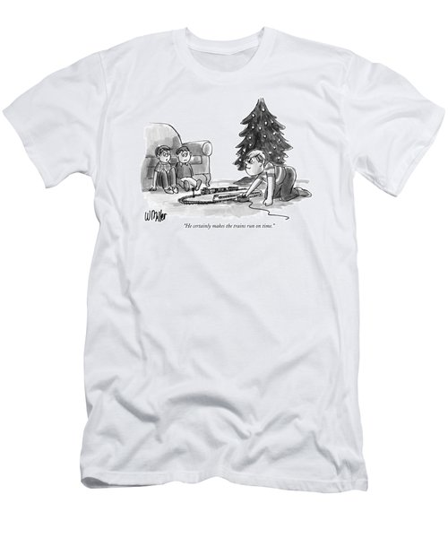 He Certainly Makes The Trains Run On Time Men's T-Shirt (Athletic Fit)