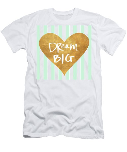 Heart On Mint Stripes I Men's T-Shirt (Athletic Fit)