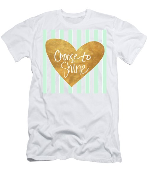Heart On Mint Stripes IIi Men's T-Shirt (Athletic Fit)