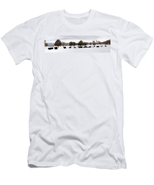 Herd Of Yaks Bos Grunniens On Snow Men's T-Shirt (Athletic Fit)