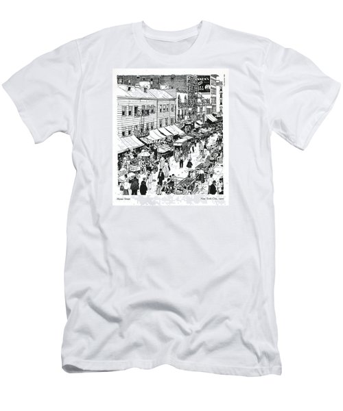 Men's T-Shirt (Slim Fit) featuring the drawing Hester Street by Ira Shander