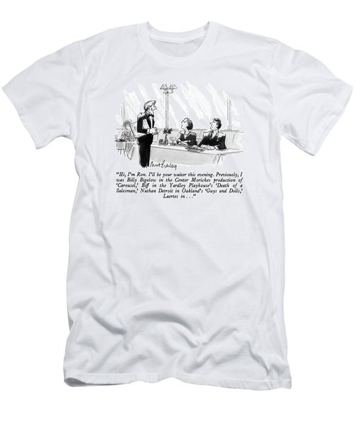 Hi, I'm Ron.  I'll Be Your Waiter This Evening Men's T-Shirt (Athletic Fit)