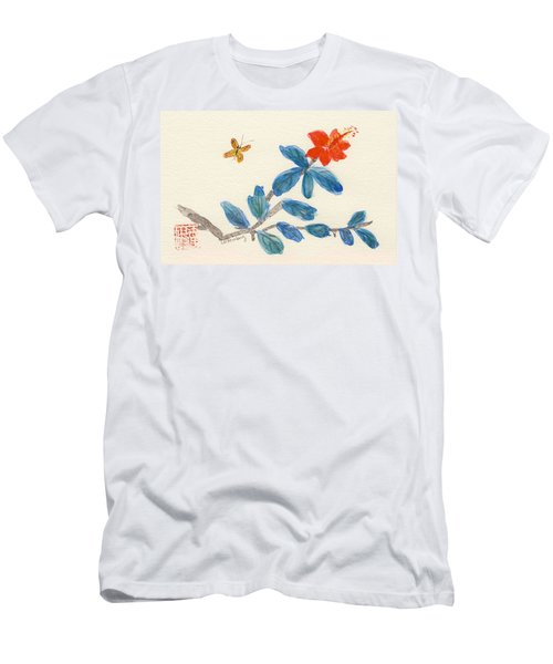 Hibiscus With Butterfly Men's T-Shirt (Athletic Fit)