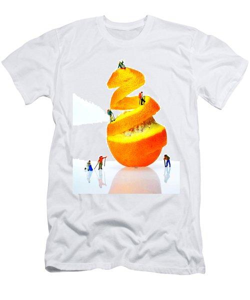 Hikers Climbing Orange Mountain Men's T-Shirt (Athletic Fit)